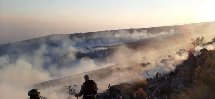 Guardaparques sofocando incendios en Tunari